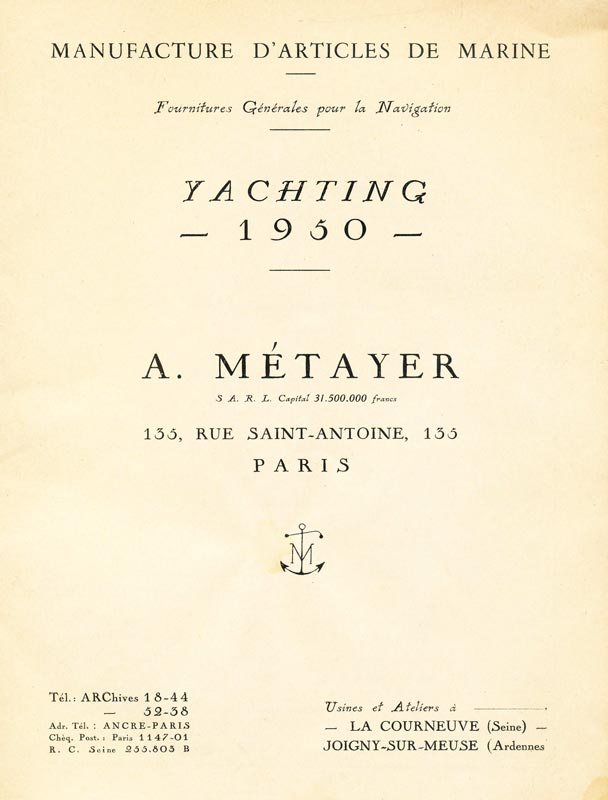 Tarifs catalogue A. Métayer - Manufacture d'articles de marine