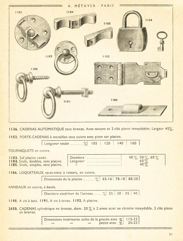 Catalogue A. Métayer - Manufacture d'articles de marine